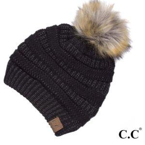 C.C Metallic Fur Pom Beanie